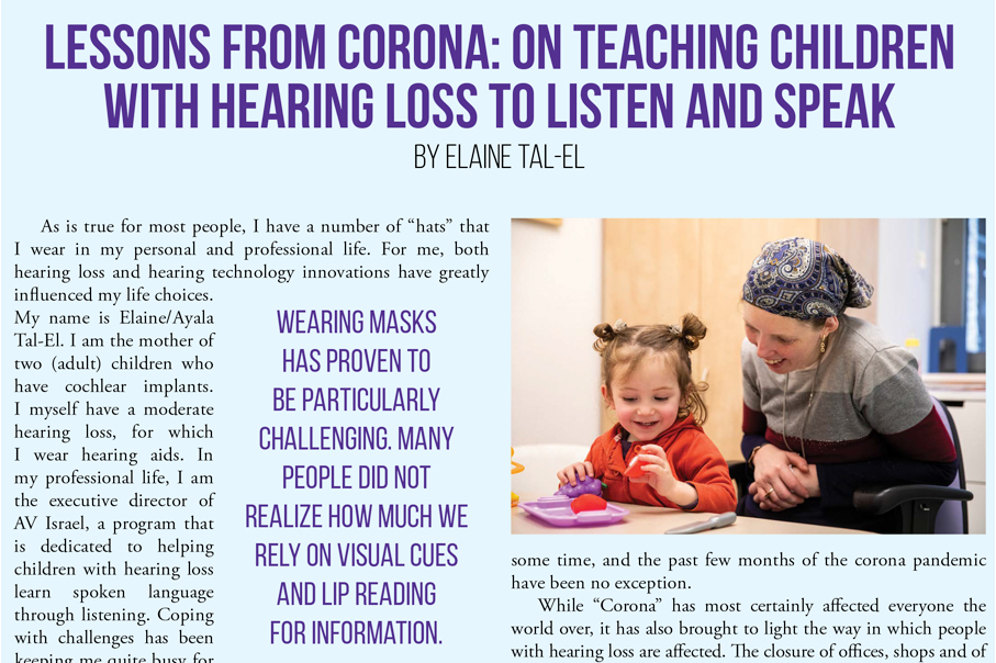 Teaching children with hearing loss to listen and speak. Lessons from corona